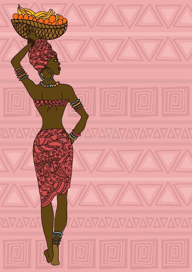 Afrykańska dziewczyna z owocowym koszem na głowie royalty ilustracja