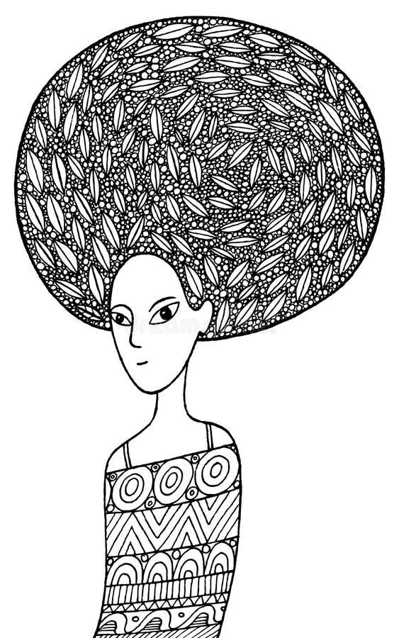 Afrykańska dziewczyny kolorystyki strona w boho mody stylu ilustracji
