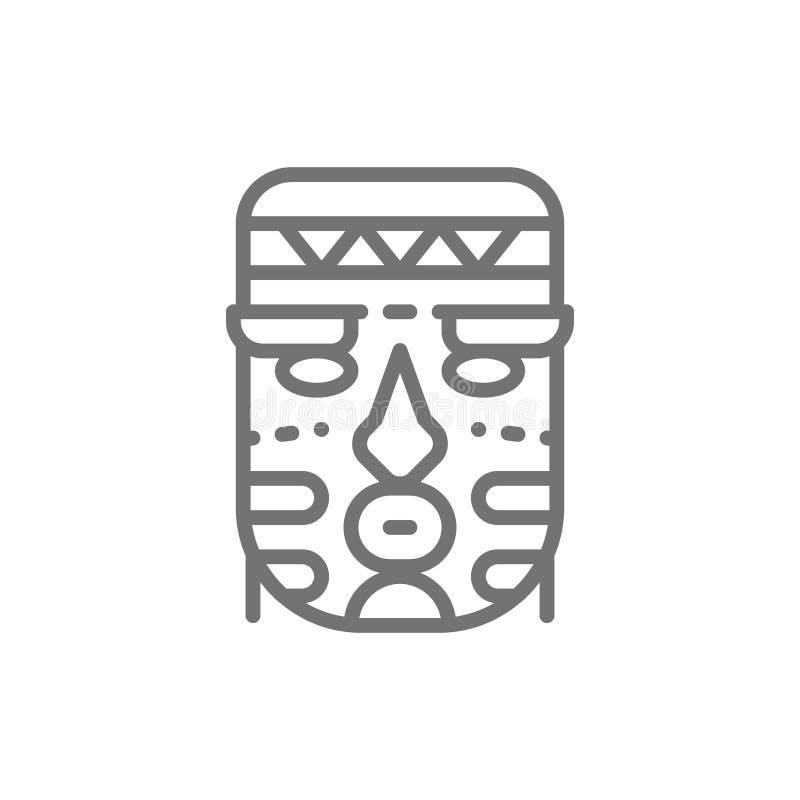 Afryka?ska etniczna plemienna maski linii ikona royalty ilustracja