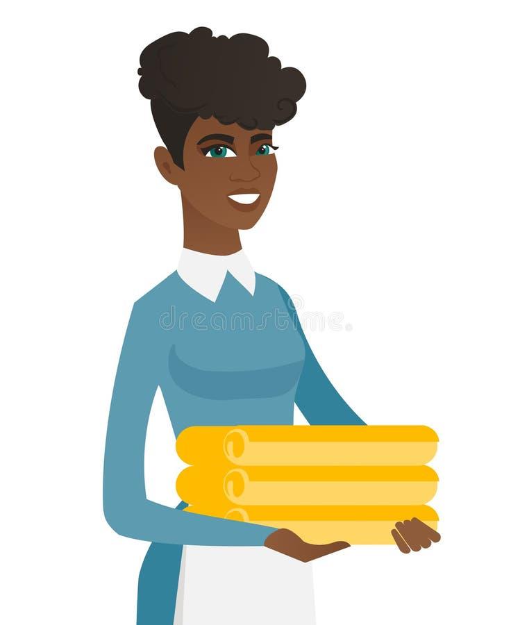 Afrykańska housekeeping gosposia z stertą pościel ilustracji