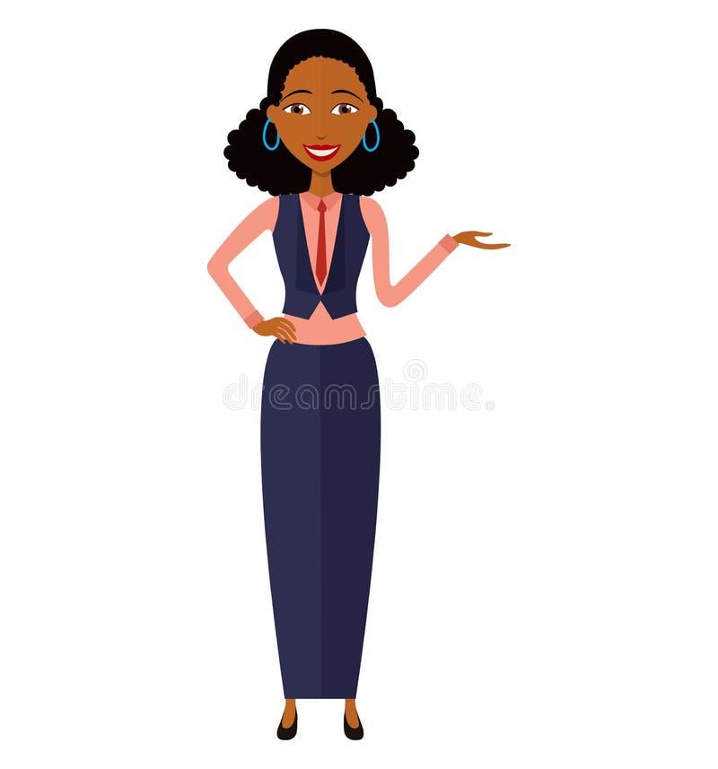 Afrykańska kobieta przedstawia coś kreskówka wektor odizolowywający na a obrazy stock