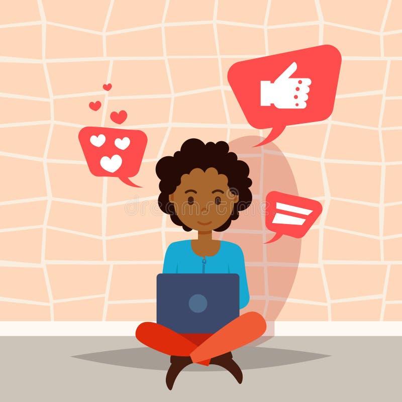 Afrykańska kobieta używa laptop ikon charakteru myślącego ogólnospołecznego medialnego szablon dla projekt animaci i pracy mieszk ilustracja wektor