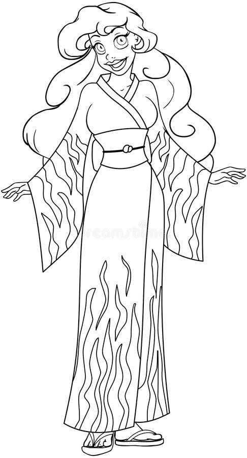 Afrykańska kobieta W Kimonowej kolorystyki stronie ilustracja wektor
