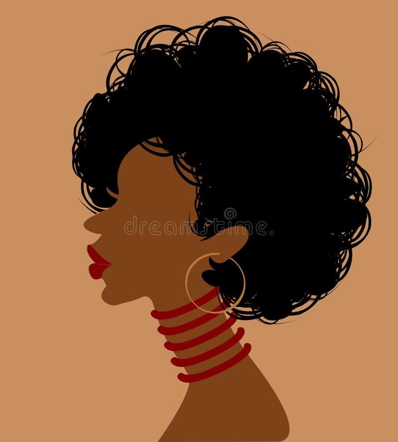Afrykańska kobieta w profilu ilustracja wektor