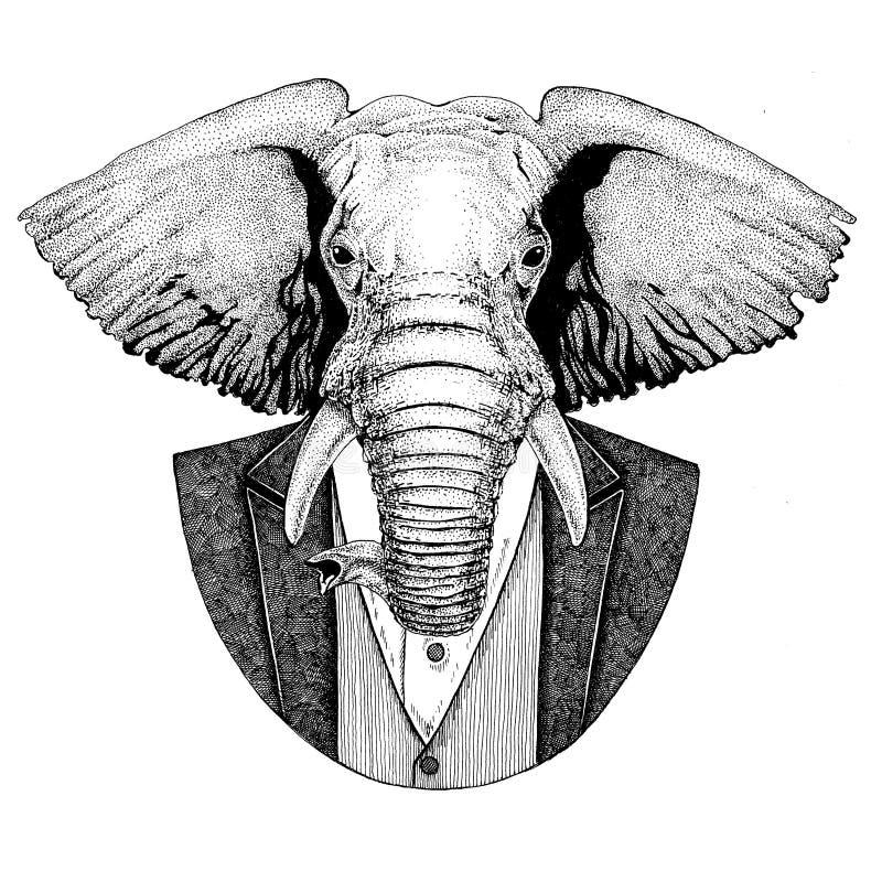 Afrykańska lub indyjska zwierzęca ręka rysujący modnisia wizerunek dla tatuażu, emblemat, odznaka, logo, łata, koszulka royalty ilustracja