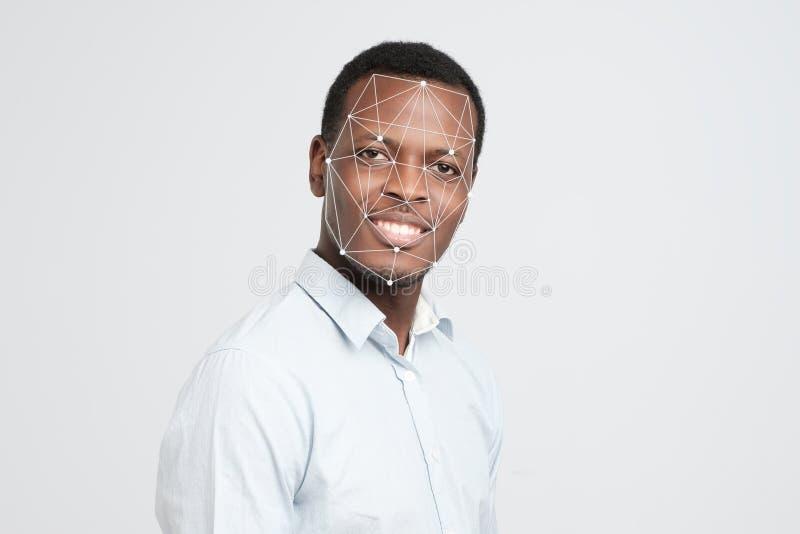 Afrykańska mężczyzna twarz, kropki i łączymy na twarzy zdjęcie stock