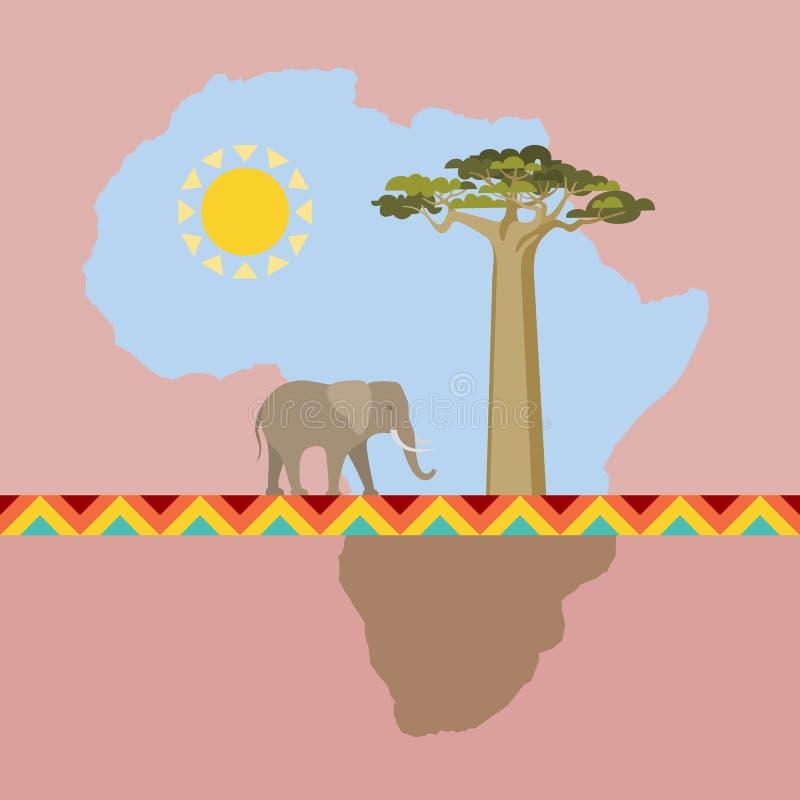 Afrykańska natury scena z kontynentem royalty ilustracja