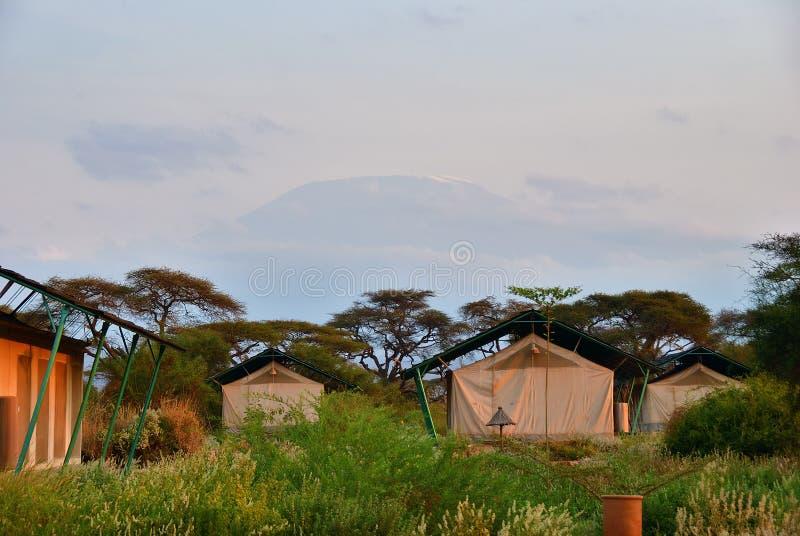 Afrykańska podróż, Sentrim Amboseli Namiotowa Obozowa Luksusowa stróżówka, Kenja fotografia stock