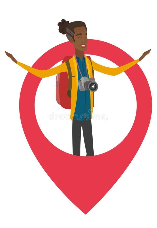 Afrykańska podróżnik pozycja w dużym mapa pointerze ilustracja wektor