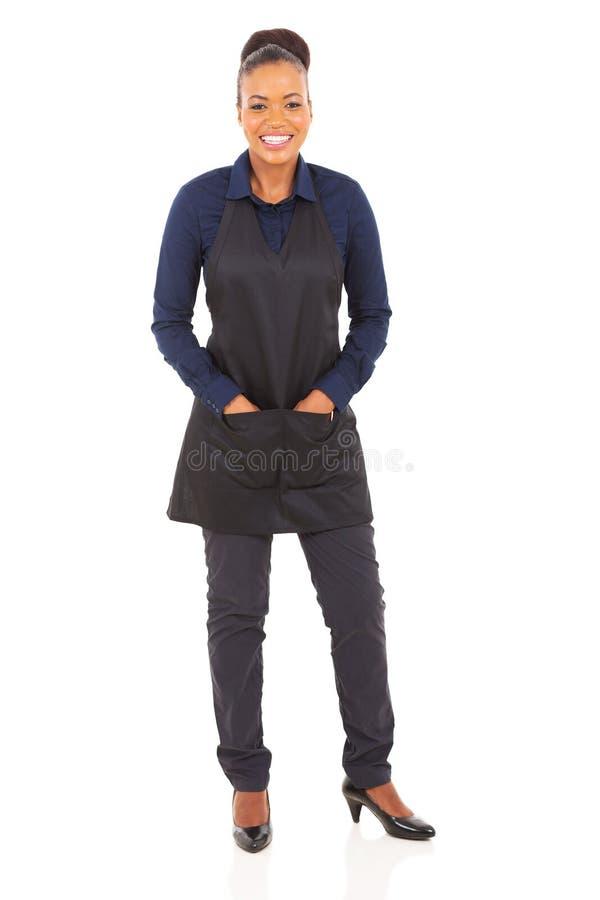 Afrykańska restauracyjna kelnerka obraz stock