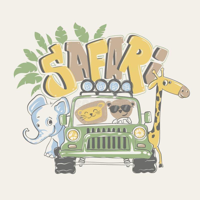 Afrykańska safari wycieczka turysyczna z zwierzętami, wektorowa ilustracja ilustracji