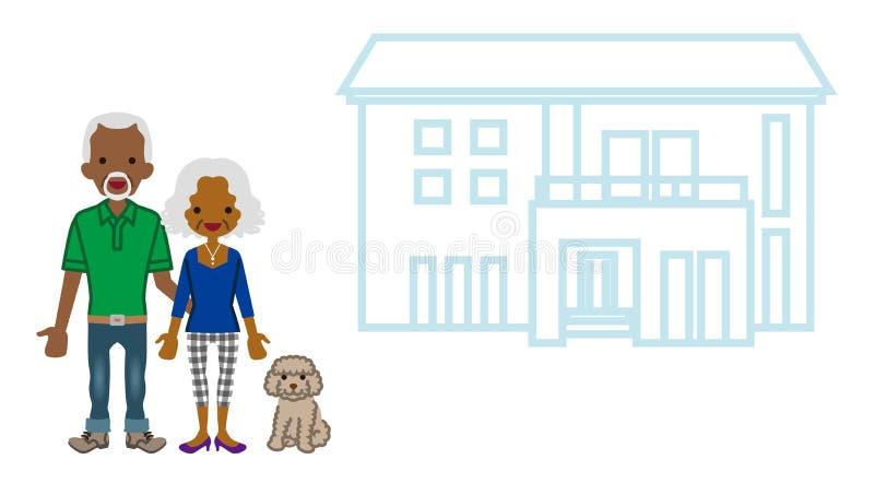 Afrykańska starsza para z siedzibą ilustracji