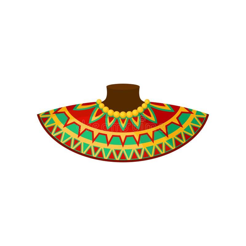 Afrykańska szyi dekoracja z tradycyjnym ornamentem, etniczny akcesorium, autentyczny symbol Afryka wektorowa ilustracja na a royalty ilustracja