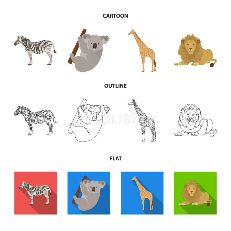 Afrykańska zebra, zwierzęca koala, żyrafa, dziki drapieżnik, lew Dzikie zwierzę ustawiać inkasowe ikony w kreskówce, kontur, mies royalty ilustracja