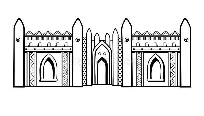 afrykański architektury Meczet od gliny royalty ilustracja