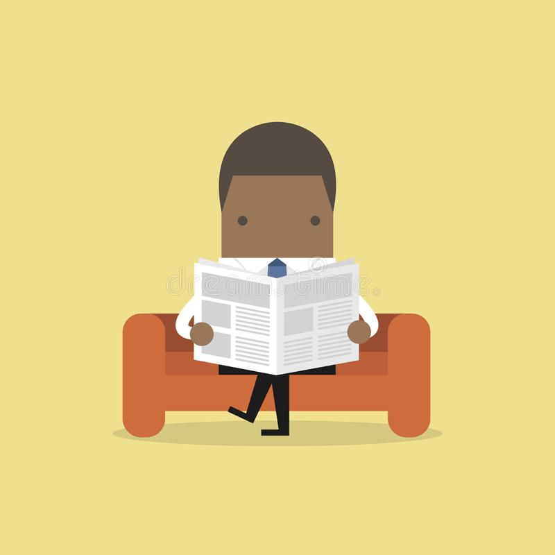 Afrykański biznesmen czyta gazetę na kanapie w pokoju i biurze ilustracji