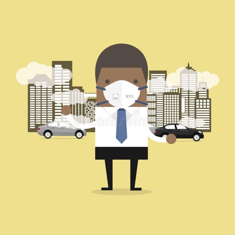 Afrykański biznesmen jest ubranym ochronną maskę przed iść pracować Py? maska N95 zapobiega PM2 5, zanieczyszczenie powietrza poj royalty ilustracja