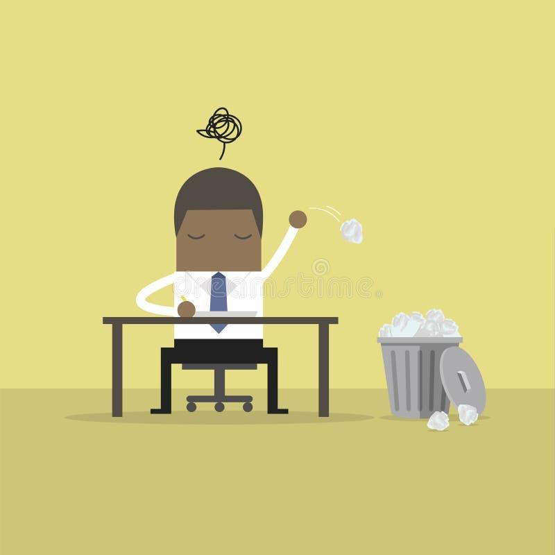 Afrykański biznesmen nie mieć pojęcia i miotanie grat miący papier ilustracja wektor