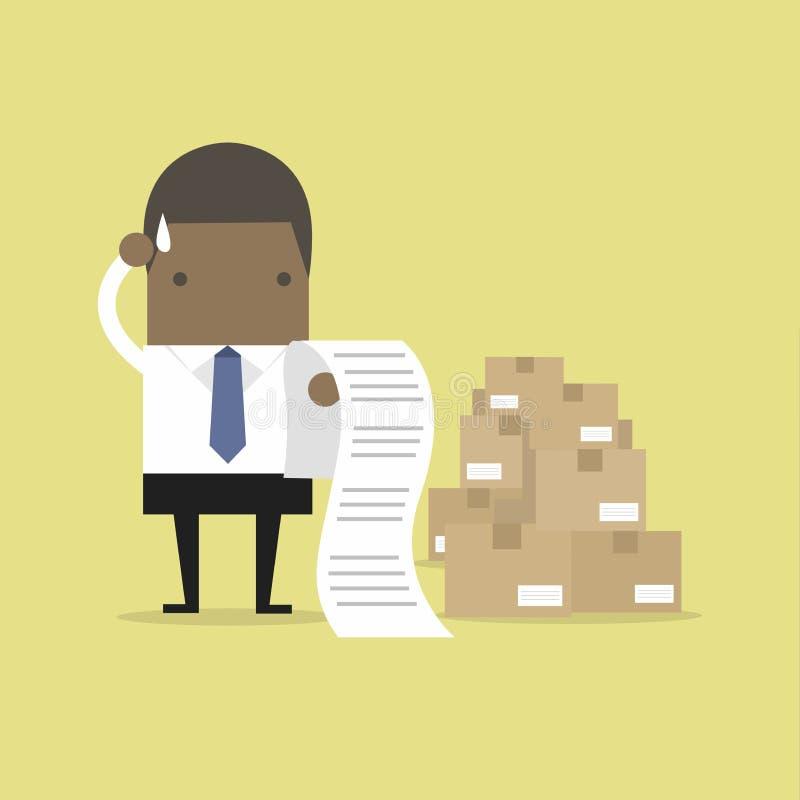 Afrykański biznesmen wprawiać w zakłopotanie rachunek ilustracja wektor