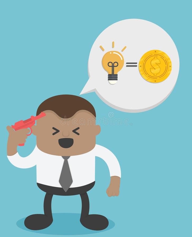 Afrykański biznesmen z genialnymi pomysłami Pomysł waluta ilustracja wektor