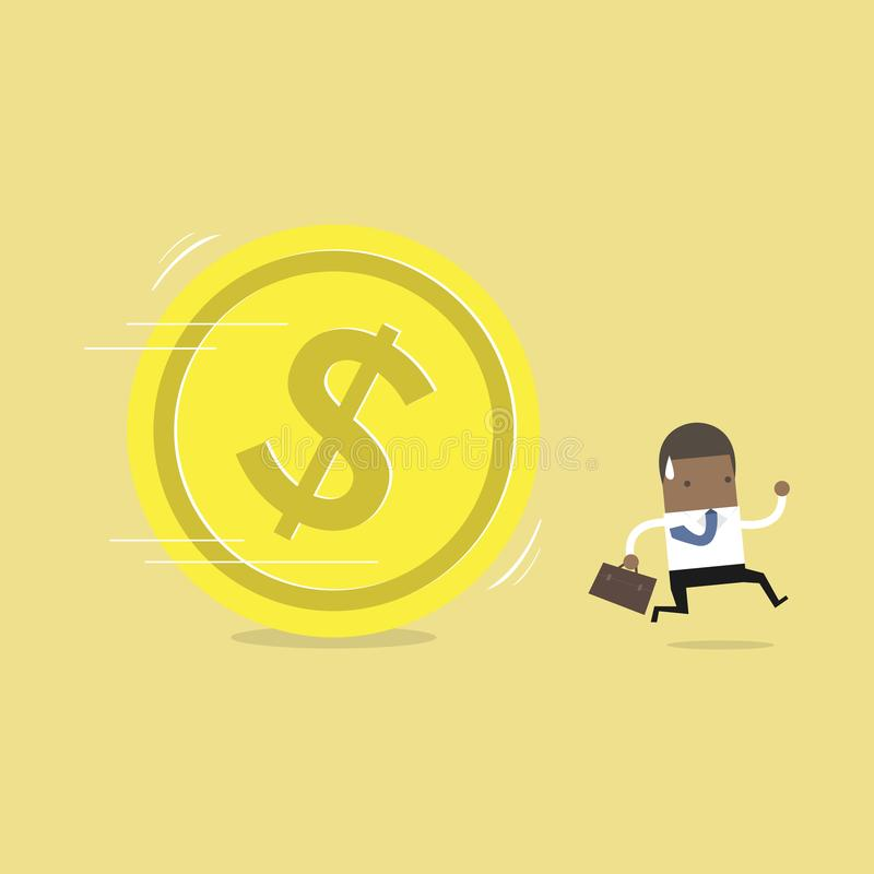 Afrykański biznesmena bieg zdala od ogromnej złotej dolar monety ilustracja wektor