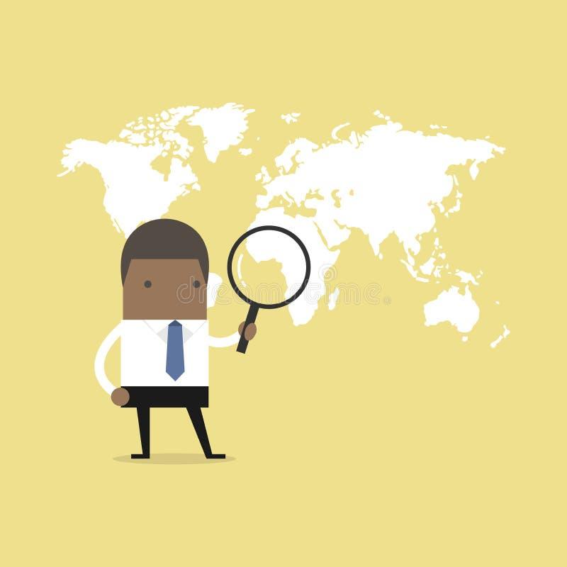Afrykański biznesmena mienia powiększać - szklany znalezienie nad światową mapą ilustracji