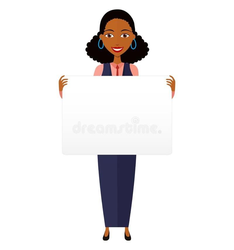 Afrykański biznesowej kobiety mienia znak lub sztandar na bielu obraz royalty free