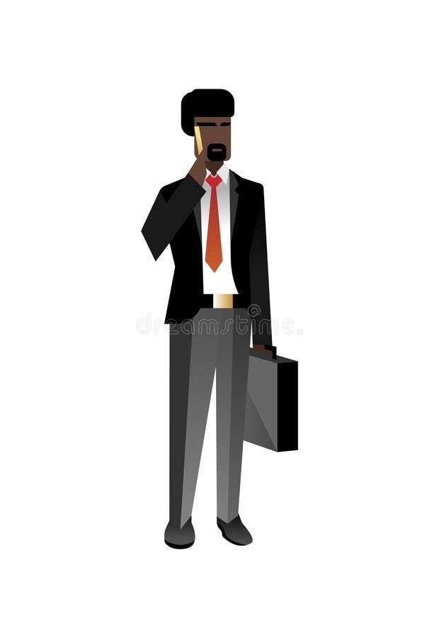 Afrykański brodaty biznesmen opowiada na telefonie ilustracji