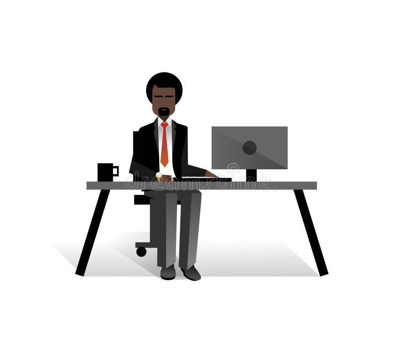 Afrykański brodaty biznesmen pracuje przy komputerem ilustracja wektor