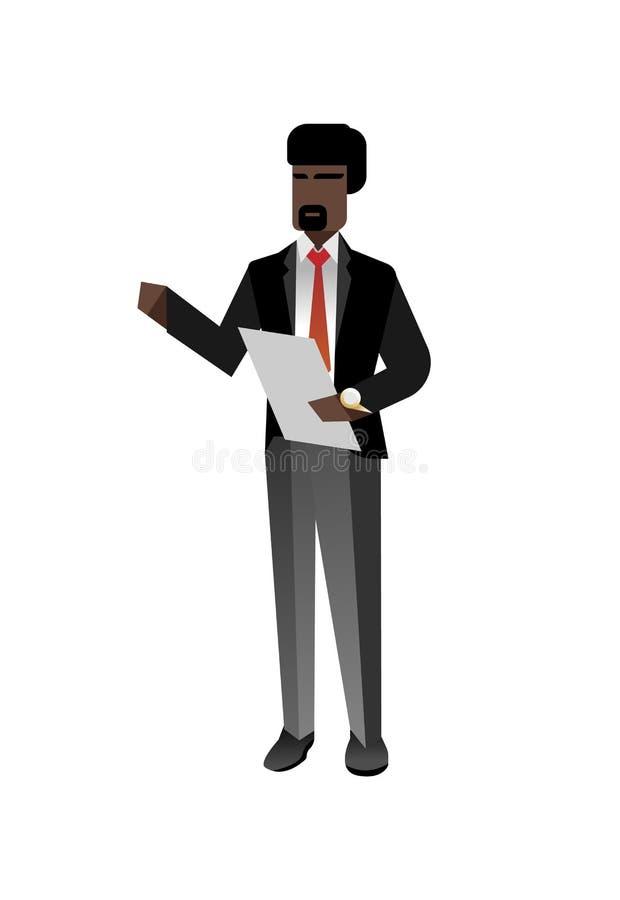 Afrykański brodaty biznesmen z czek listą ilustracja wektor