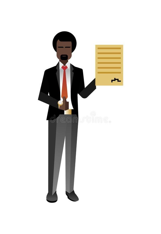 Afrykański brodaty biznesmen z kciukiem up ilustracji