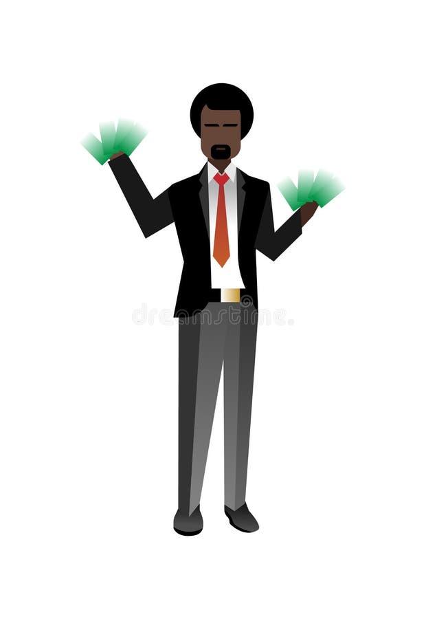 Afrykański brodaty biznesmen z pieniądze w rękach ilustracja wektor