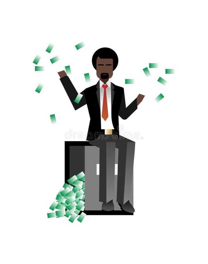Afrykański brodaty biznesmena obsiadanie na bank skrytce ilustracji
