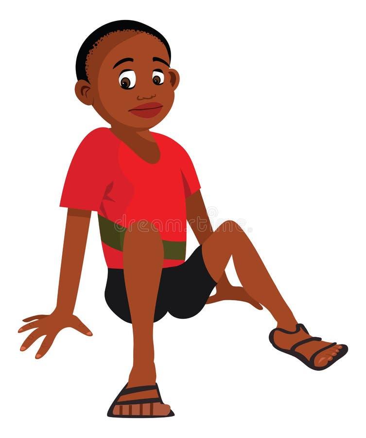 Afrykański chłopiec obsiadanie
