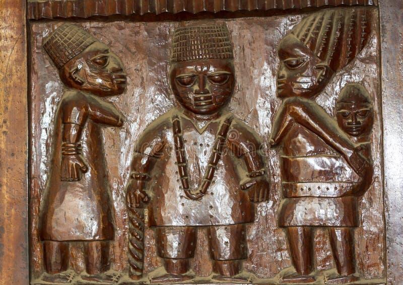 Afrykański Drewniany Reliefowy Rzeźbi Yoruba fotografia royalty free