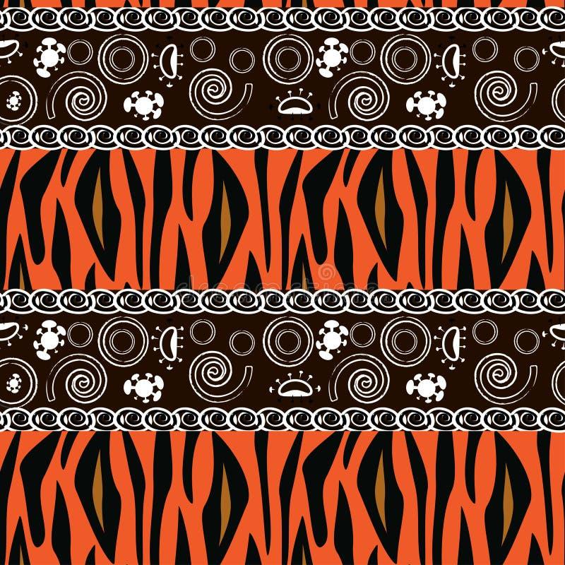 Afrykański druk z tygrysim skóra wzorem ilustracja wektor