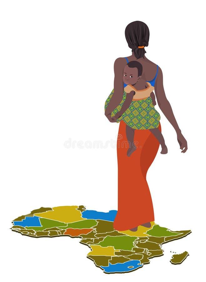 afrykański dziecko jej kobieta ilustracja wektor