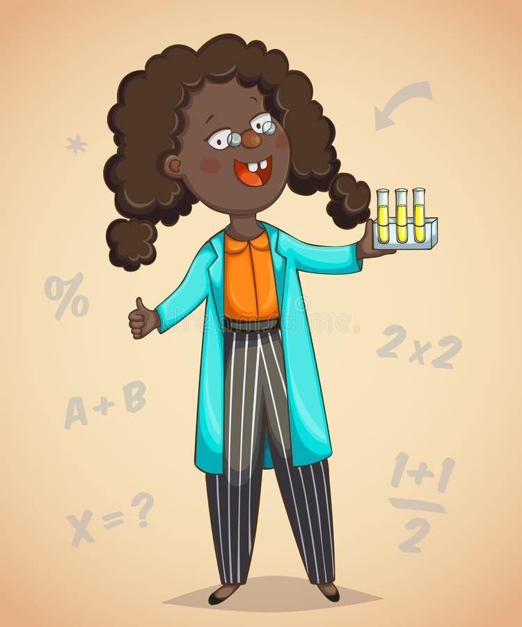 Afrykański dziewczyna naukowa postać z kreskówki obrazy royalty free