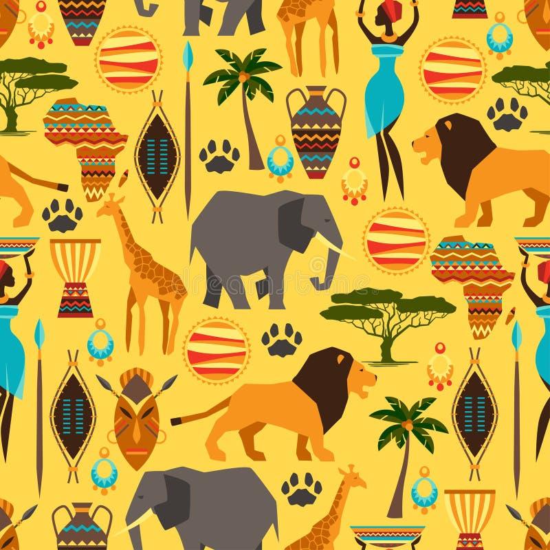 Afrykański etniczny bezszwowy wzór z stylizowanym ilustracja wektor