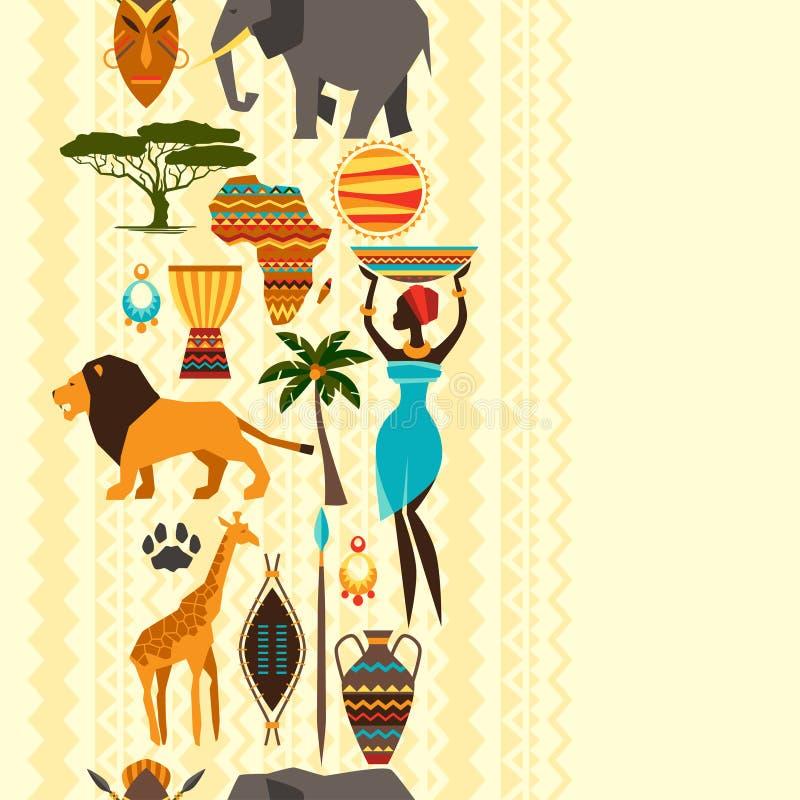 Afrykański etniczny bezszwowy wzór z stylizowanym royalty ilustracja