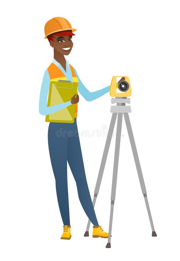 Afrykański geodeta budowniczy pracuje z theodolite ilustracji
