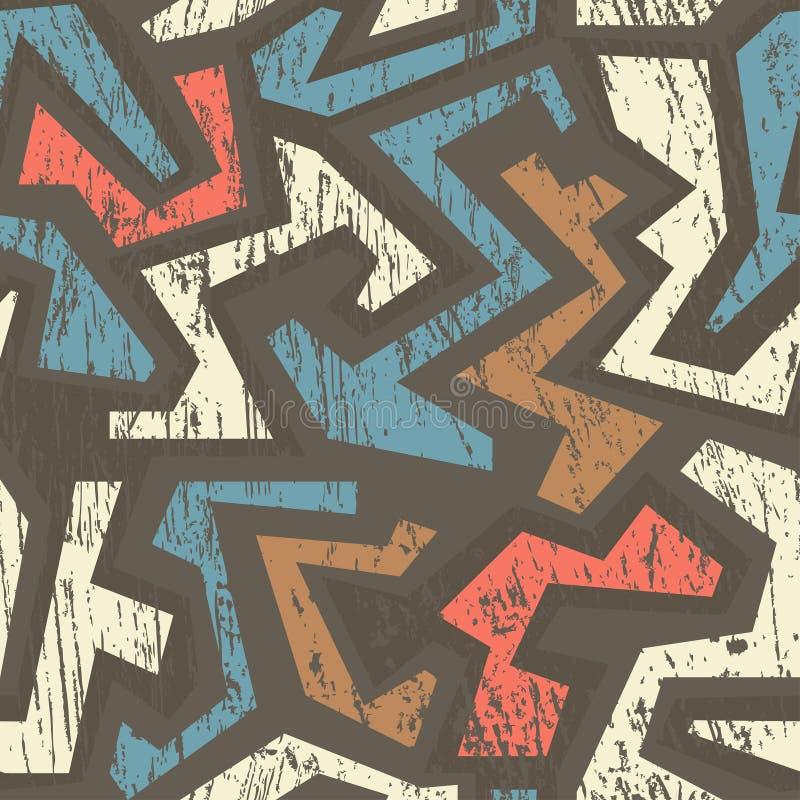Afrykański geometryczny bezszwowy wzór z drewnianym skutkiem ilustracja wektor