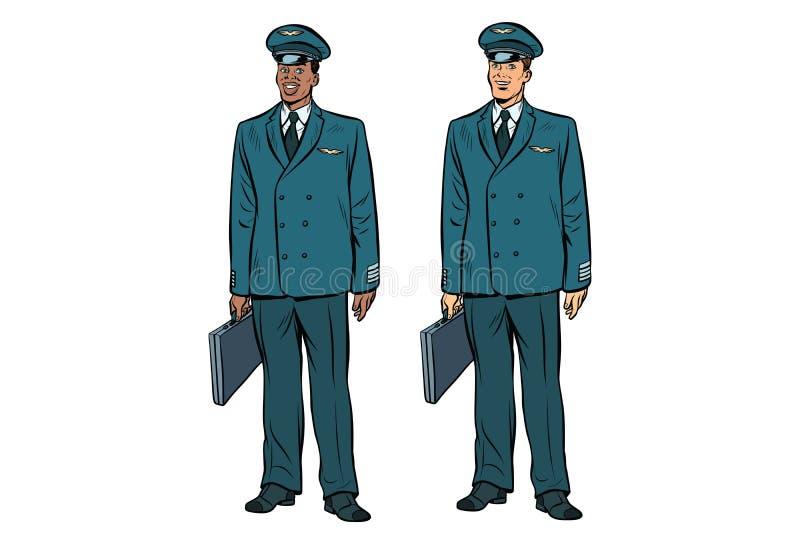 Afrykański i Kaukaski piloci lotnictwo cywilne ilustracji