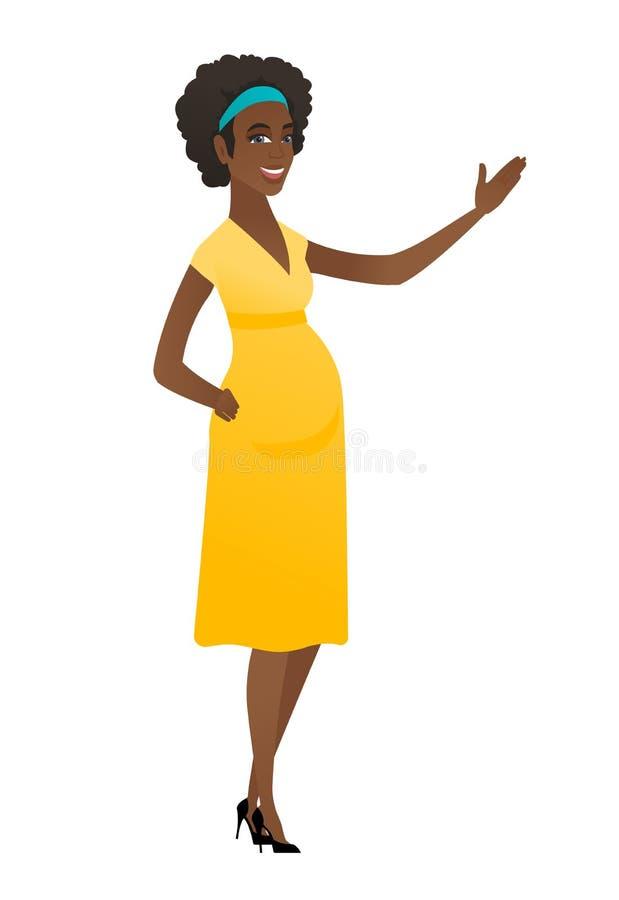 Afrykański kobieta w ciąży pokazuje kierunek ilustracja wektor
