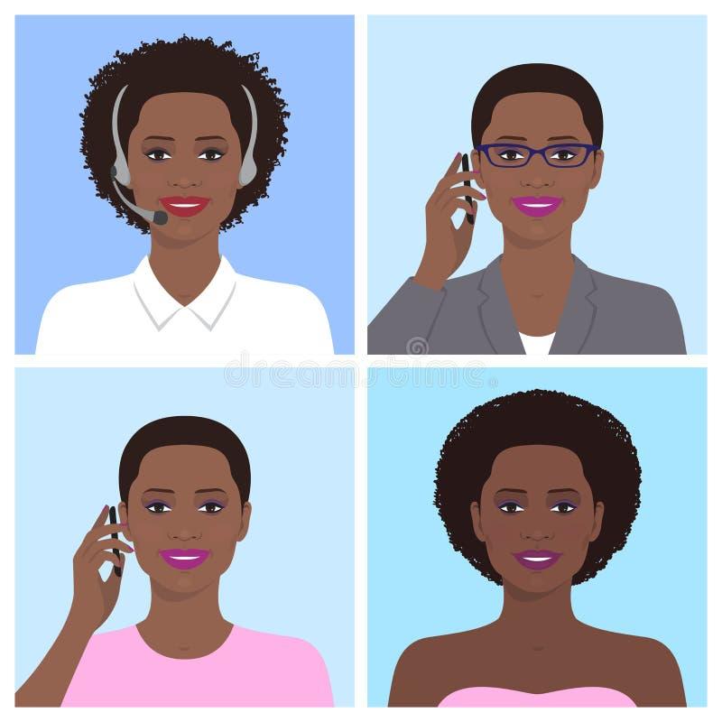 Afrykański kobiety avatar ilustracji