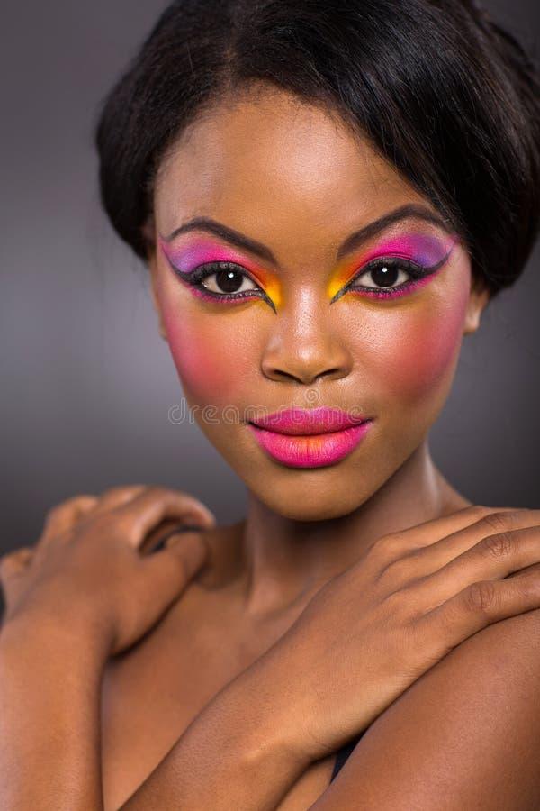 Afrykański kolorowy makeup fotografia stock