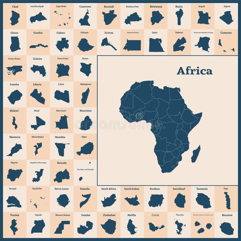 Afrykański kontynent i wszystkie kraje Afryka wektor ilustracji