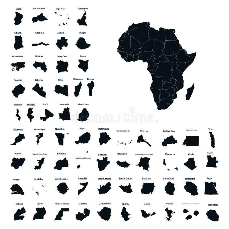 Afrykański kontynent i wszystkie kraje Afryka wektor royalty ilustracja