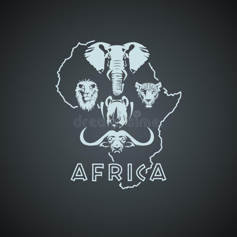 Afrykański kontynentu kształt z dużymi pięć zwierzętami ilustracja wektor
