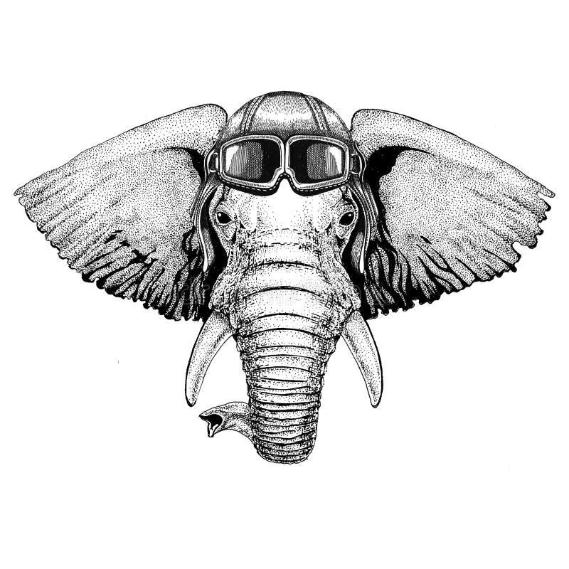 Afrykański lub indyjski lotnik, rowerzysta, motocykl ręka rysująca ilustracja dla tatuażu, emblemat, odznaka, logo, łata ilustracja wektor